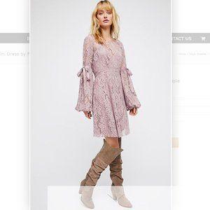 Ruby Crochet Lace Mini Mauve Dress by Free People